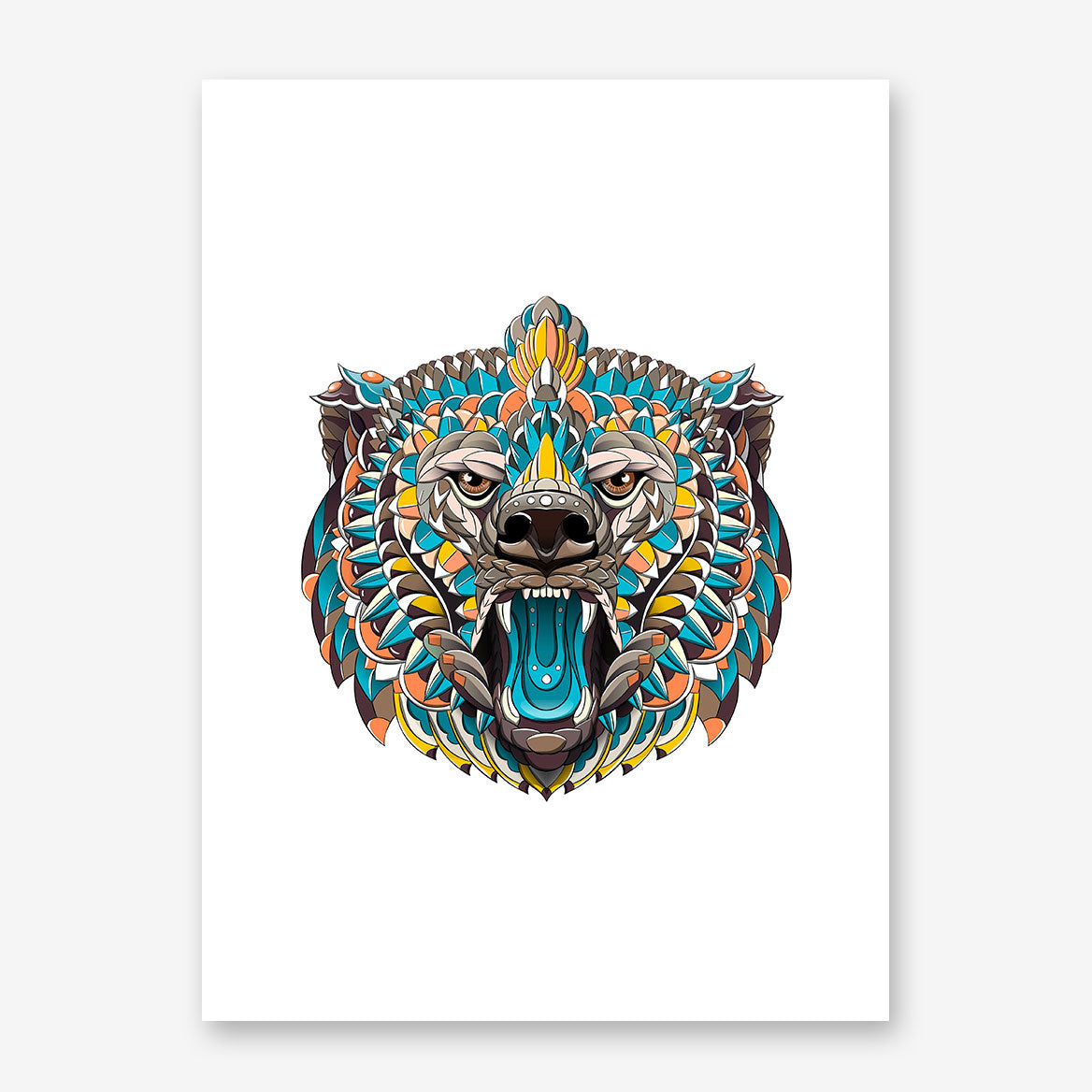 Patterned poster print with a coloured bear's head on white background.