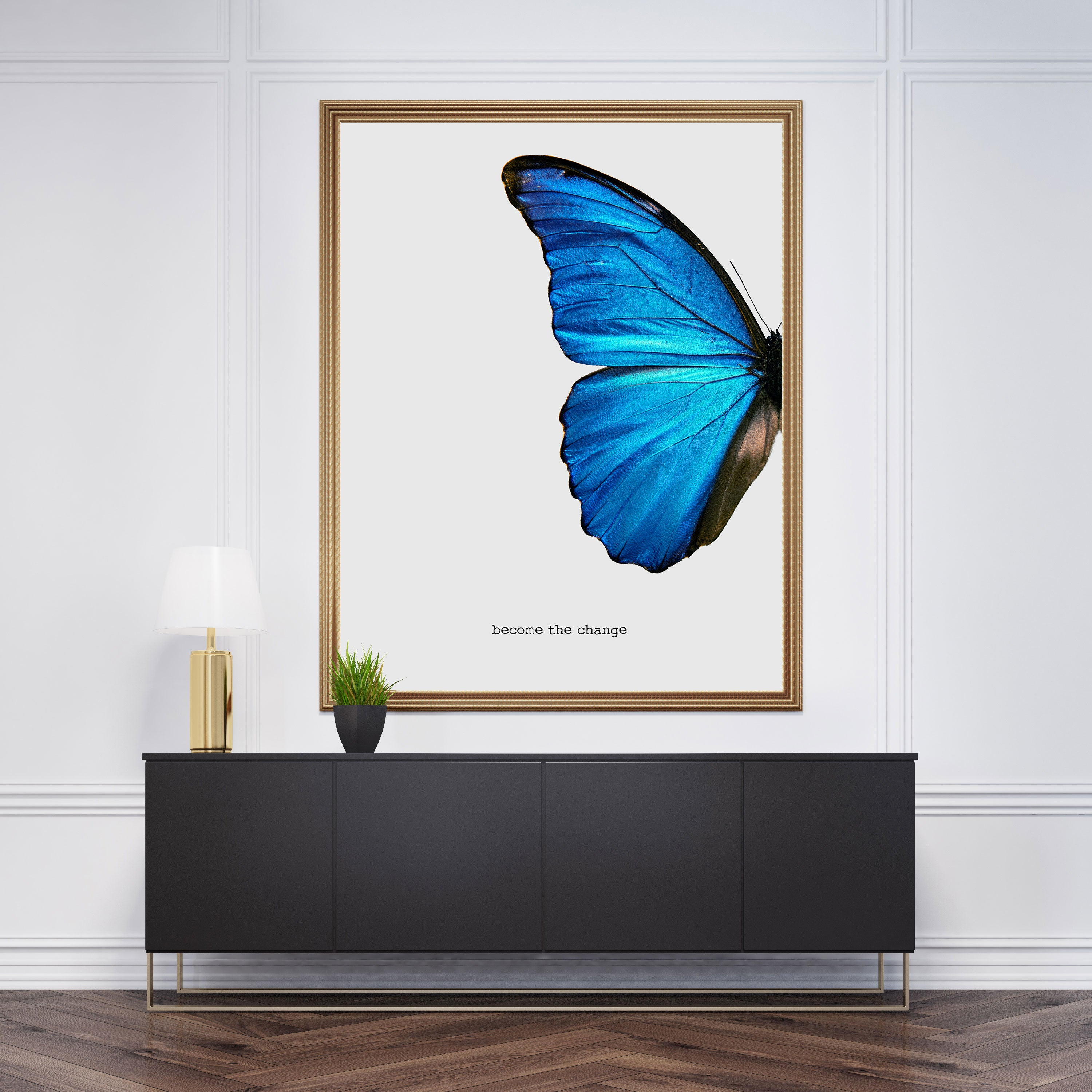 "Blue butterfly abstract poster print with the text ""become the change""."