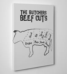 Kitchen canvas print with butcher's beef cuts text and image, on a grey background - side view