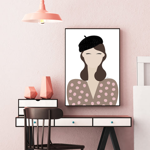 Fashion poster print by Linda Gobeta, with an abstract woman, wearing a black beret, framed view