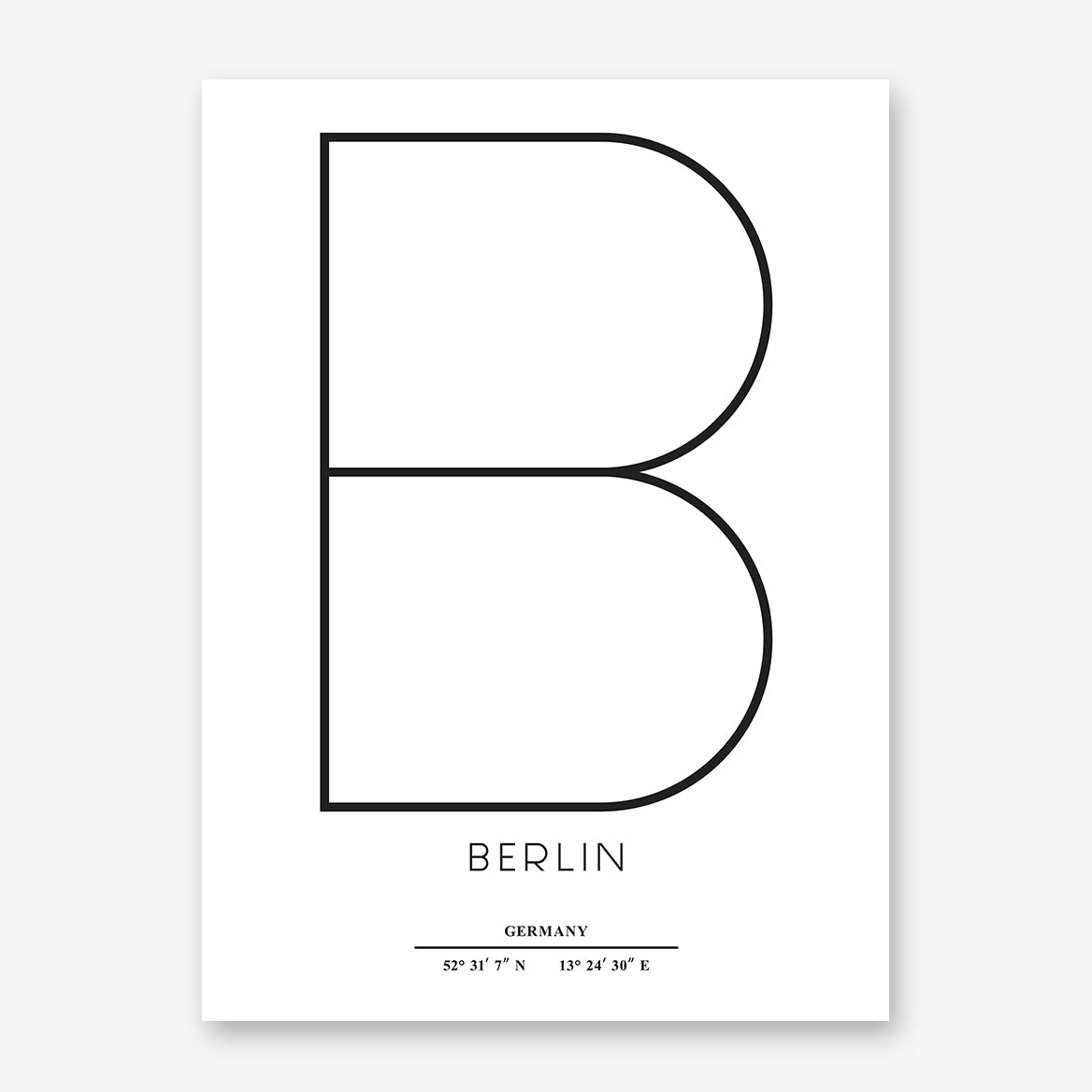 Typography poster print by Kubistika, with ''B'' for Berlin, Germany and latitude & longitude coordinates, on white background.