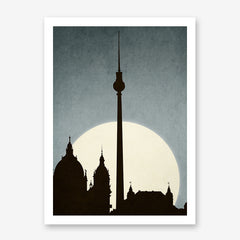 Textured illustration print by Kubistika, with a sunrise behind iconic landmarks in Berlin, on dusty blue background
