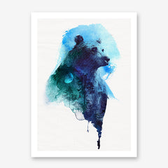 Watercolour poster print with a blue bear and forest, on crinkled light grey background