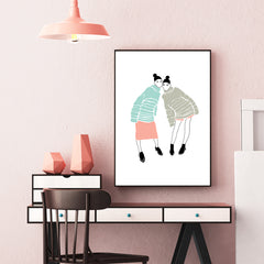 Fashion illustration print by Linda Gobeta, with 2 best friends, on white background, framed view
