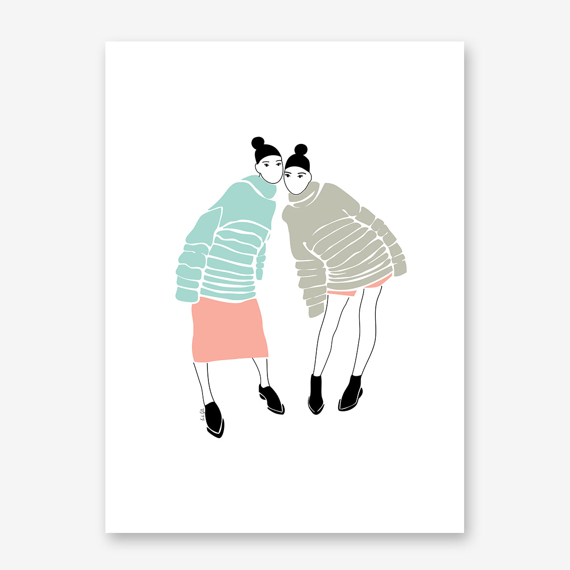 Fashion illustration print by Linda Gobeta, with 2 best friends, on white background