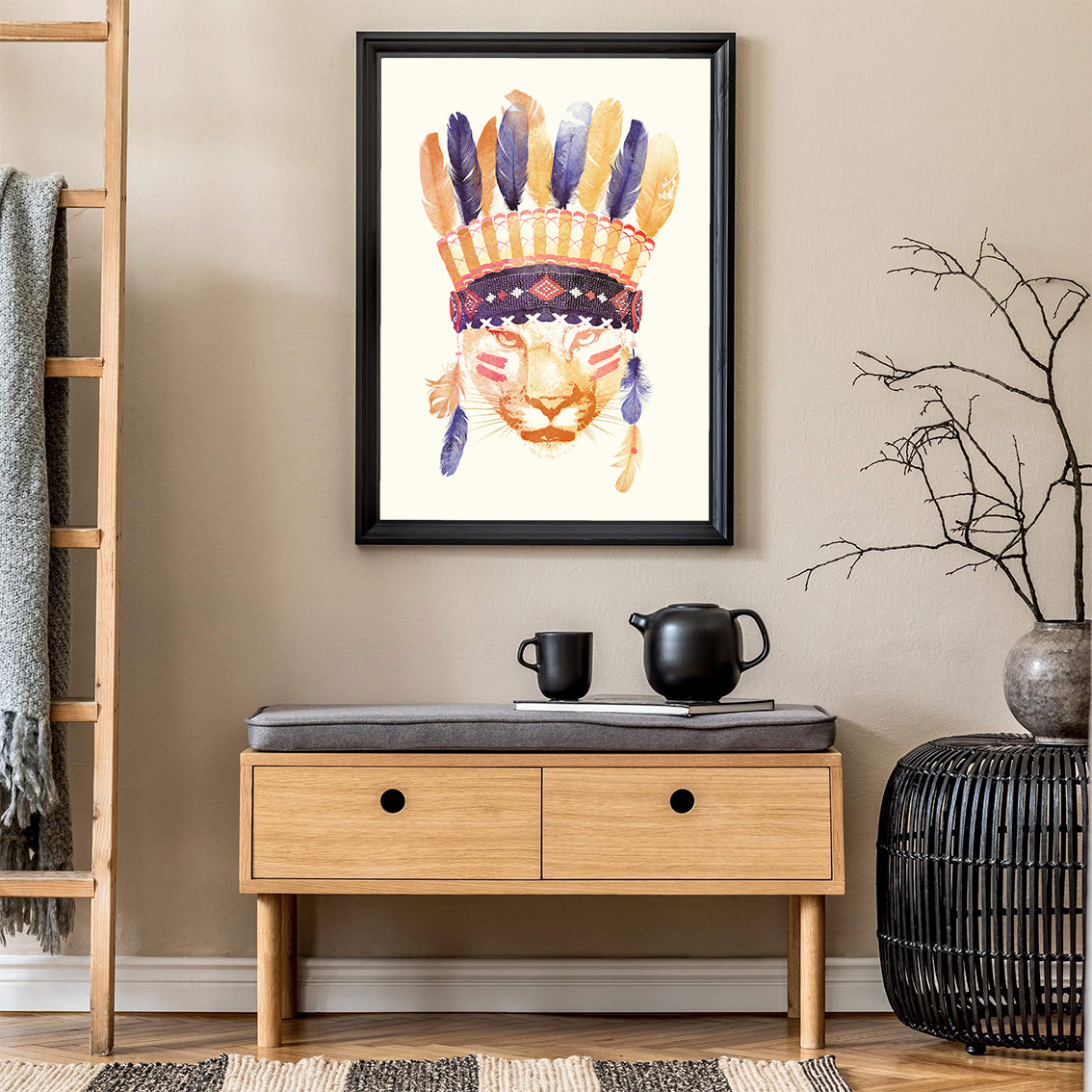 Watercolour illustration print by Robert Farkas, with a tiger wearing an Indian hat, in hallway