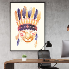 Watercolour illustration print by Robert Farkas, with a tiger wearing an Indian hat, in office