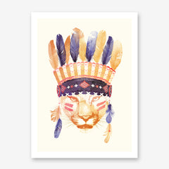 Watercolour illustration print by Robert Farkas, with a tiger wearing an Indian hat