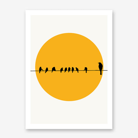 Poster print by Kubistika, with yellow sun and black birds on a rope, on light grey background.