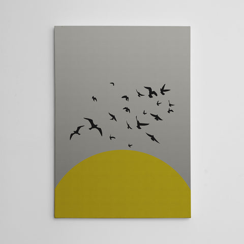 Canvas print with yellow sun and black birds, on grey textured paper effect background.