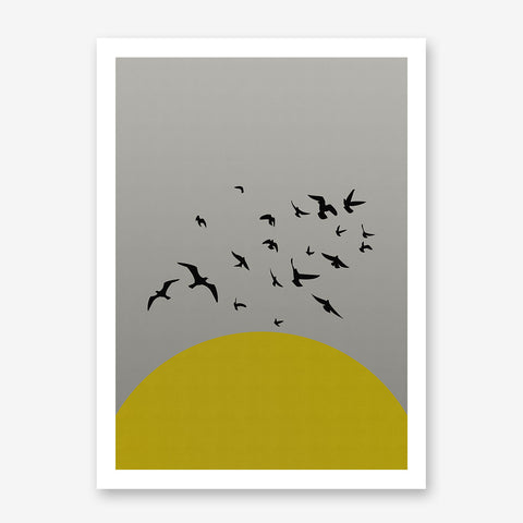 Poster print with yellow sun and black birds, on grey textured paper effect background.