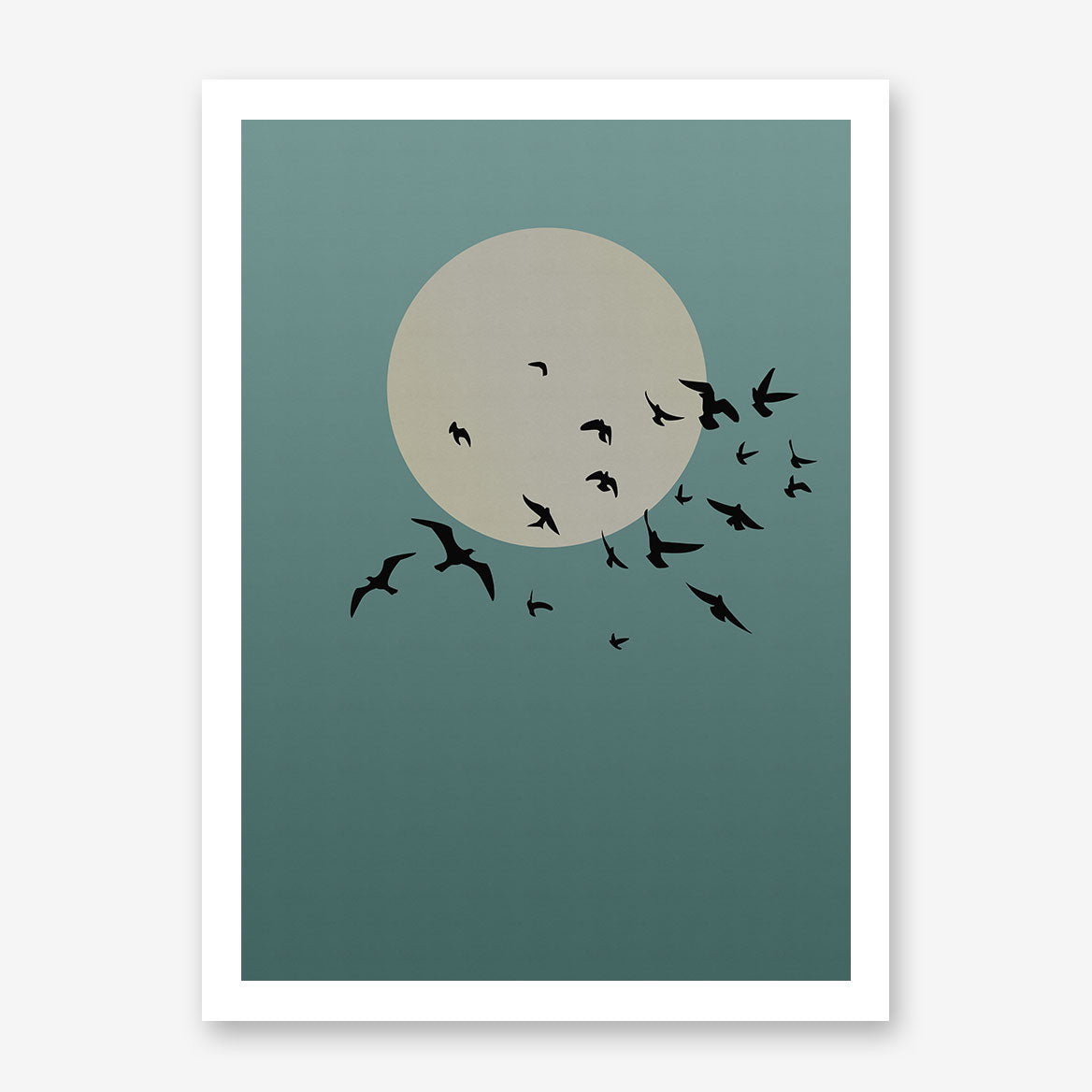 Poster print with grey sun and black birds, on blue textured paper effect background