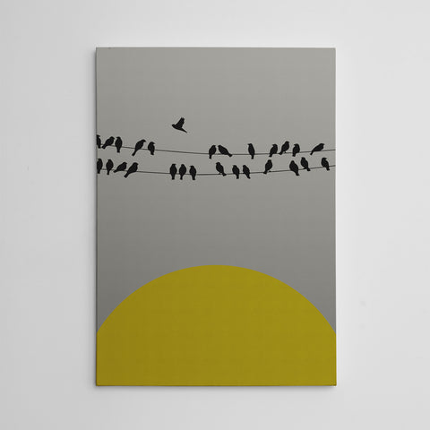 Canvas print with yellow sun and black birds on rope, on grey textured paper effect background