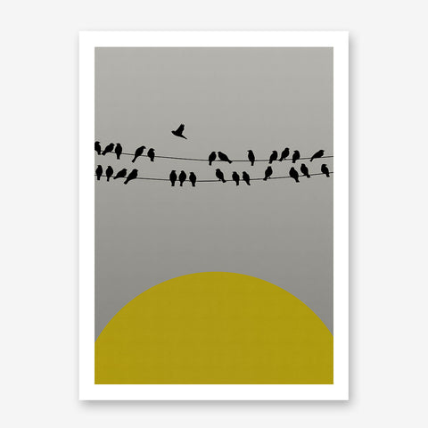 Poster print with yellow sun and black birds on rope, on grey textured paper effect background.