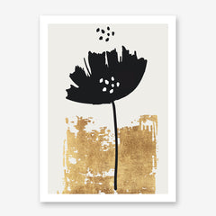 Illustration poster print by Kubistiksa, with black poppy and gold motif, on light grey background.