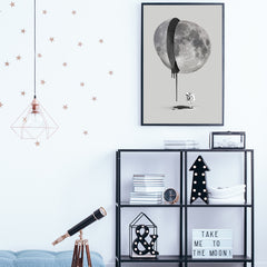 Grey illustration poster print by Robert Farkas, with astronaut and bleeding moon, in teens room