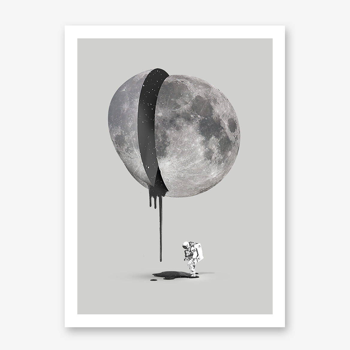Grey illustration poster print by Robert Farkas, with astronaut and bleeding moon.