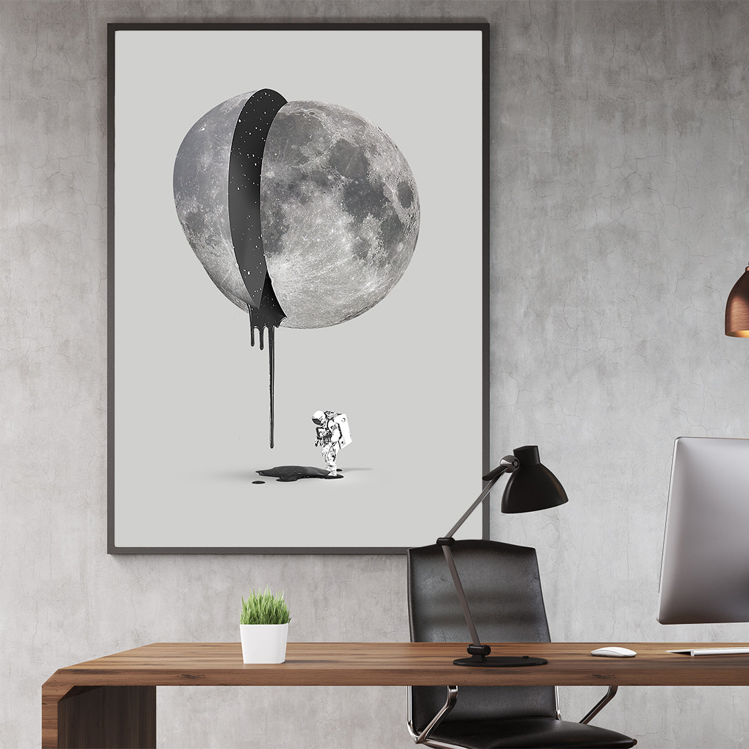 Grey illustration poster print by Robert Farkas, with astronaut and bleeding moon, in office