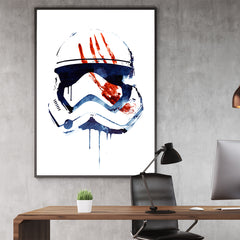 Movie inspired poster print by Robert Farkas, with watercolour character, on white background, in office