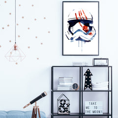 Movie inspired poster print by Robert Farkas, with watercolour character, on white background, in teens room