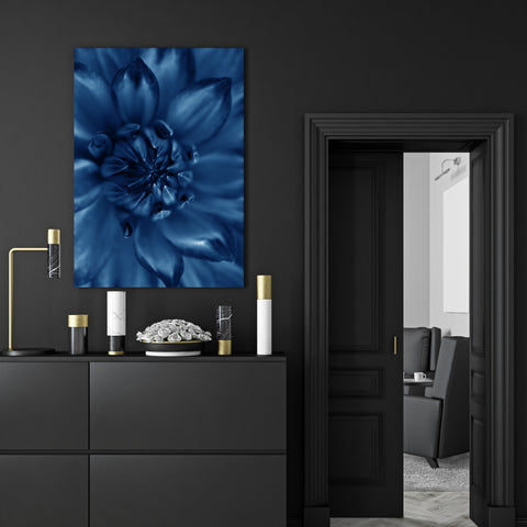 Botanical canvas print, with a blue flower close-up - room view