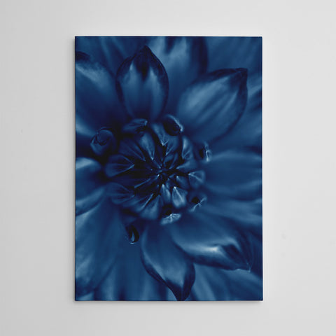 Botanical canvas print, with a blue flower close-up
