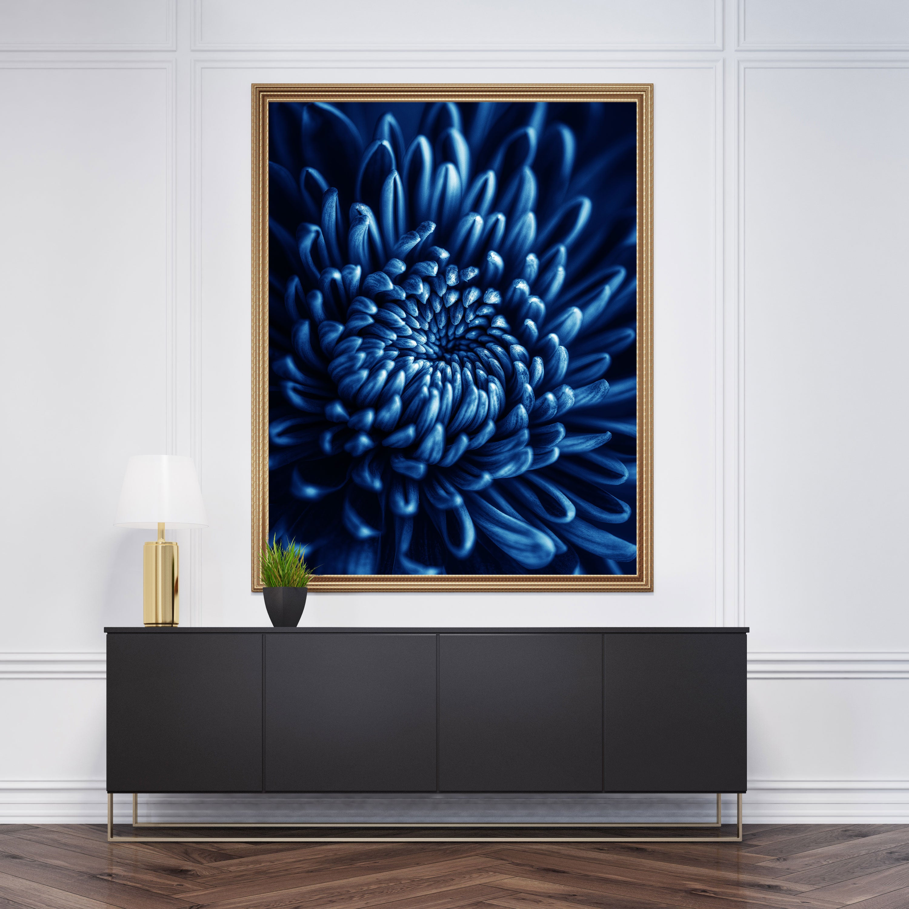 Floral poster print, with a blue flower close-up - room view