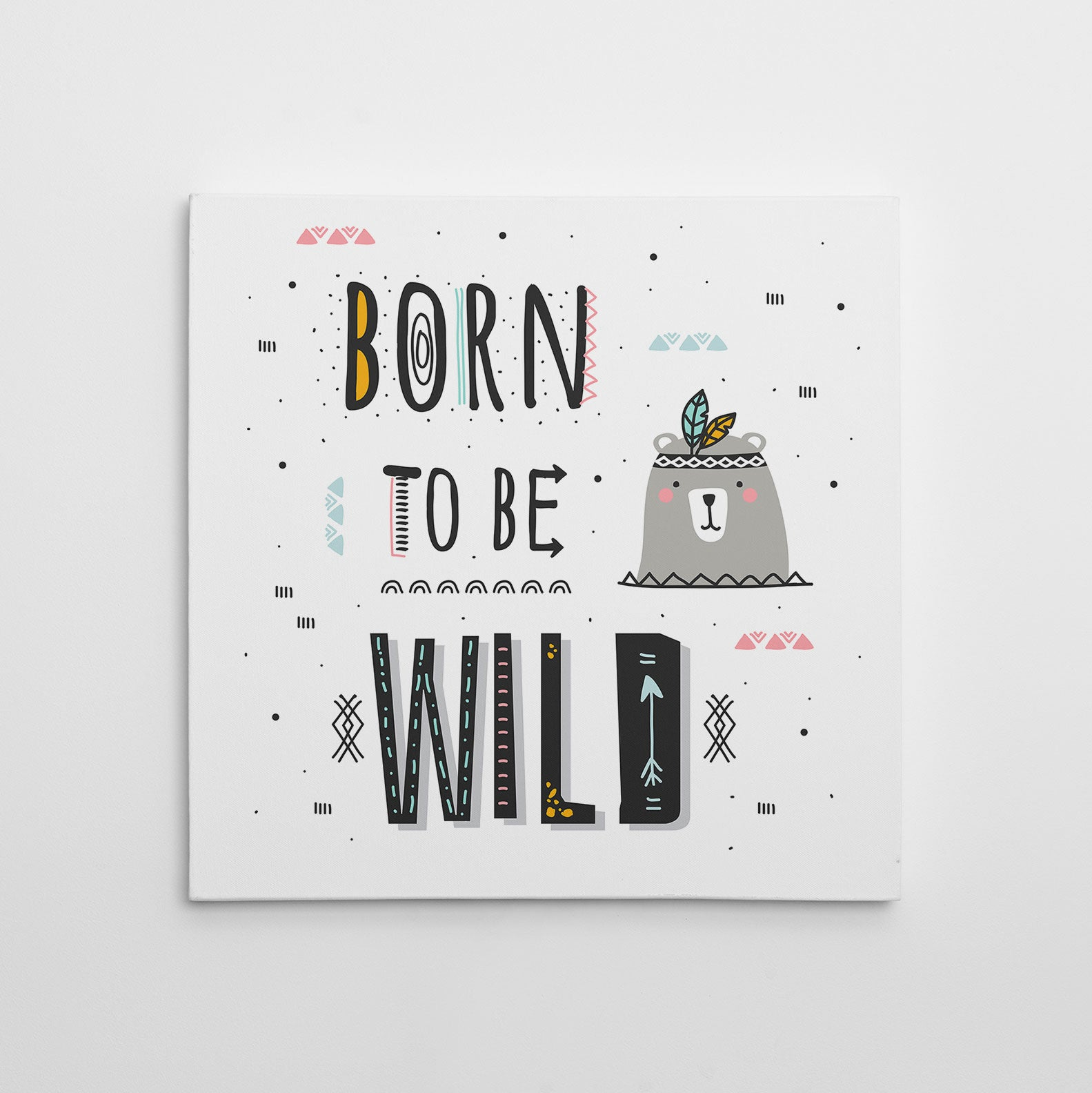 "Kids square canvas print with black text ""Born to be wild"", on a white background."
