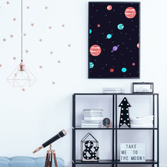 Illustration poster print by Robert Farkas, with night sky, stars and colourful planets, in children's room.