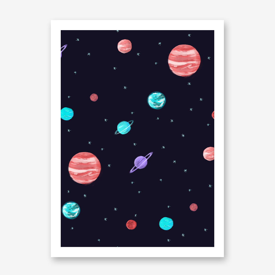 Illustration poster print by Robert Farkas, with night sky, stars and colourful planets.