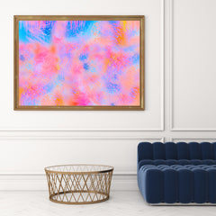 Poster print by Henry Hu, with blue and pink abstract digital art, in living room