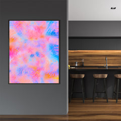 Poster print by Henry Hu, with blue and pink abstract digital art, in dining room.