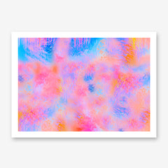 Poster print by Henry Hu, with blue and pink abstract digital art.