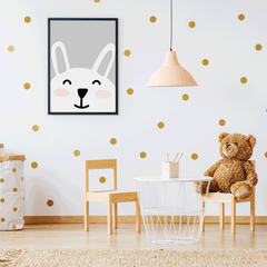 Nursery poster print with a smiley bunny on grey background, room view