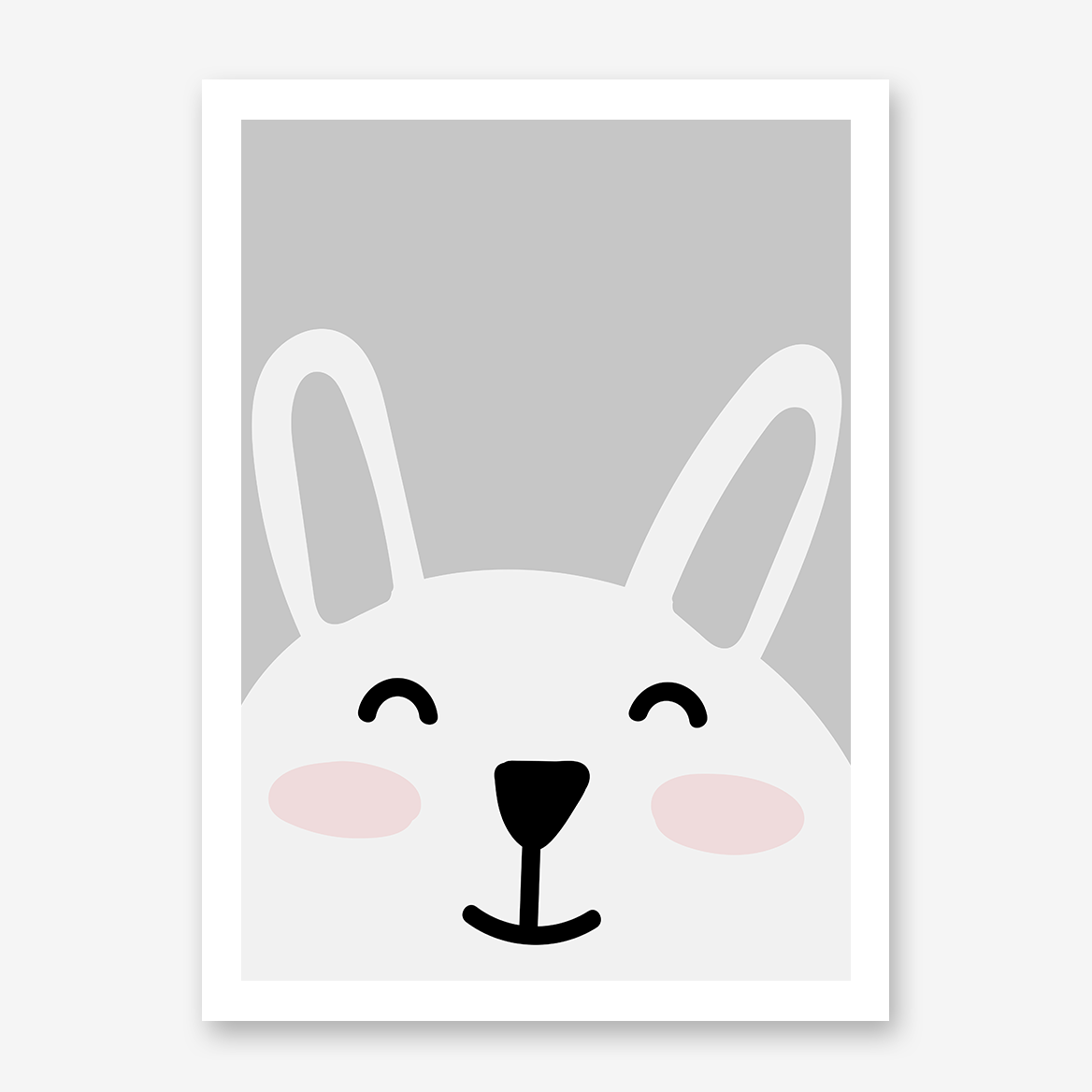 Nursery poster print with a smiley bunny on grey background.