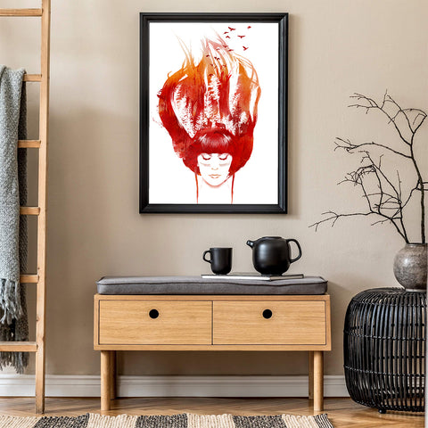 Abstract illustration print by Robert Farkas, with a woman's hair in the shape of a forest in flames, in living room