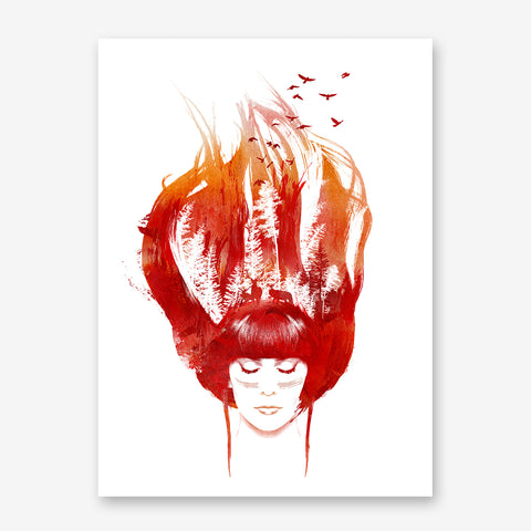 Abstract illustration print by Robert Farkas, with a woman's hair in the shape of a forest in flames.