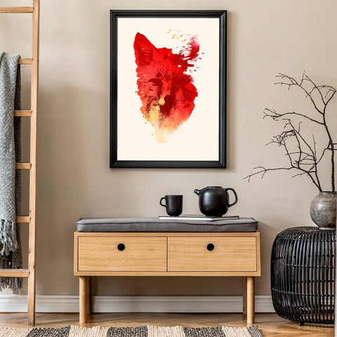 Abstract illustration print by Robert Farkas, with a red fox and birds, in living room