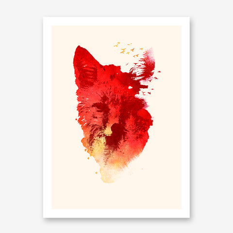Abstract illustration print by Robert Farkas, with a red fox and birds.