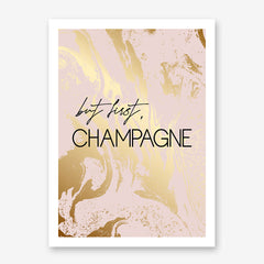 "Typography poster print, with black text ""but first, Champagne"", on pink and gold marble effect background."