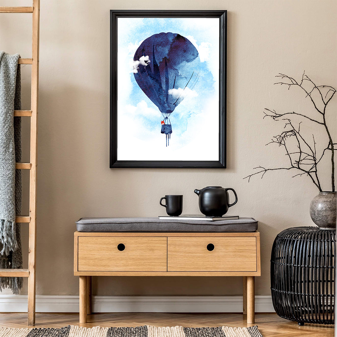 Watercolour illustration print by Robert Farkas, with a fox in a blue hot air balloon, in living room