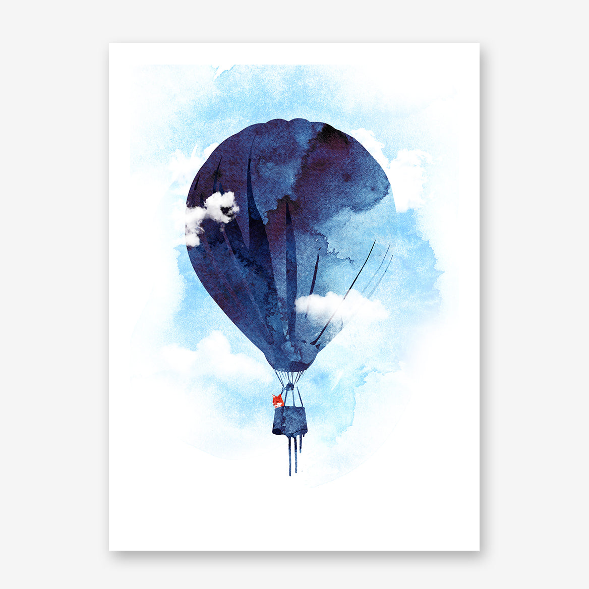 Watercolour illustration print by Robert Farkas, with a fox in a blue hot air balloon.