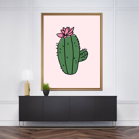 Wall art with cute green cactus, on light pink background