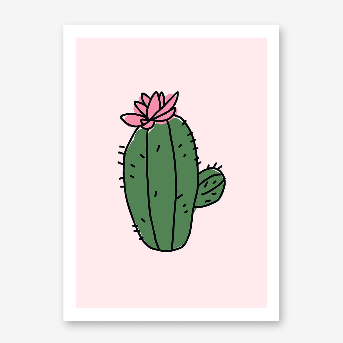 Poster print, with cute green cactus, on light pink background