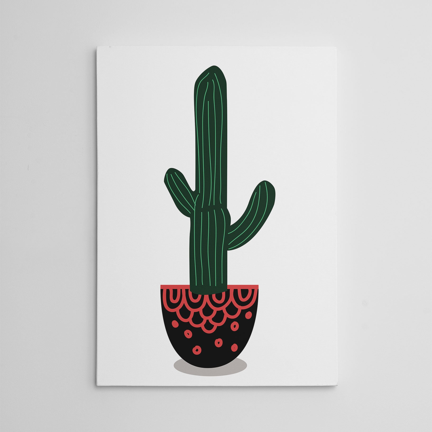 Canvas print with a potted green cactus, on white background