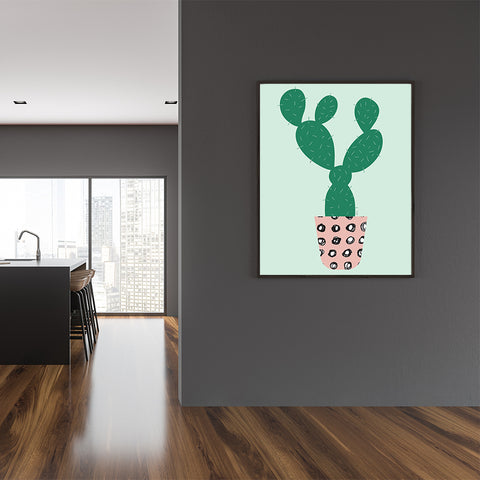 Illustration poster print by Linda Gobeta, with large green cactus and pink pot, on light green background, dining room view