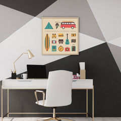 Wall art print with a camper van and camping elements, on beige background.
