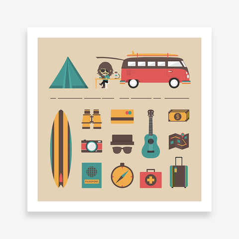 Poster print with a camper van and camping elements, on beige background