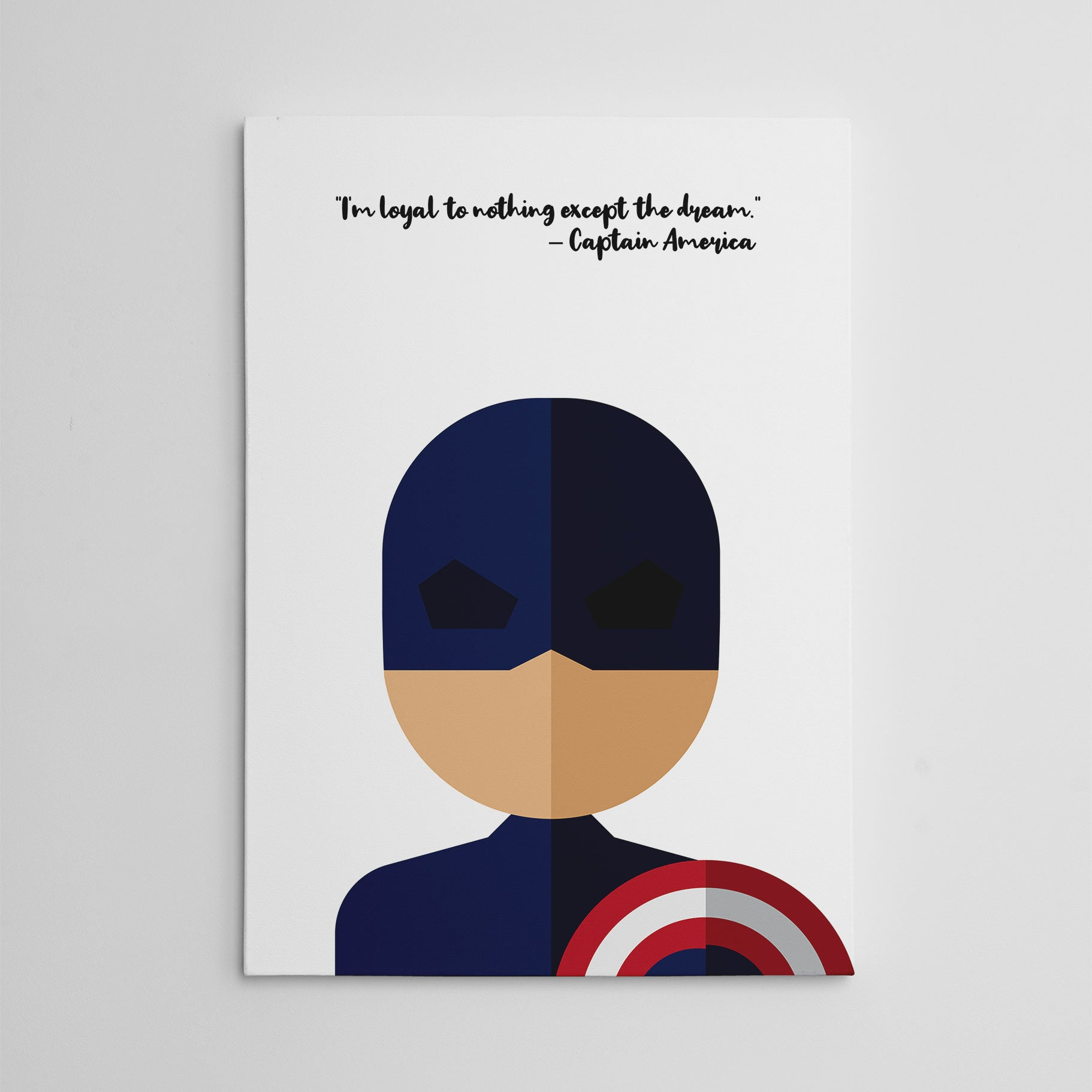 "White canvas print with Captain America's quote ""I'm loyal to nothing, except the dream"" and Captain America's abstract portrait - side view"