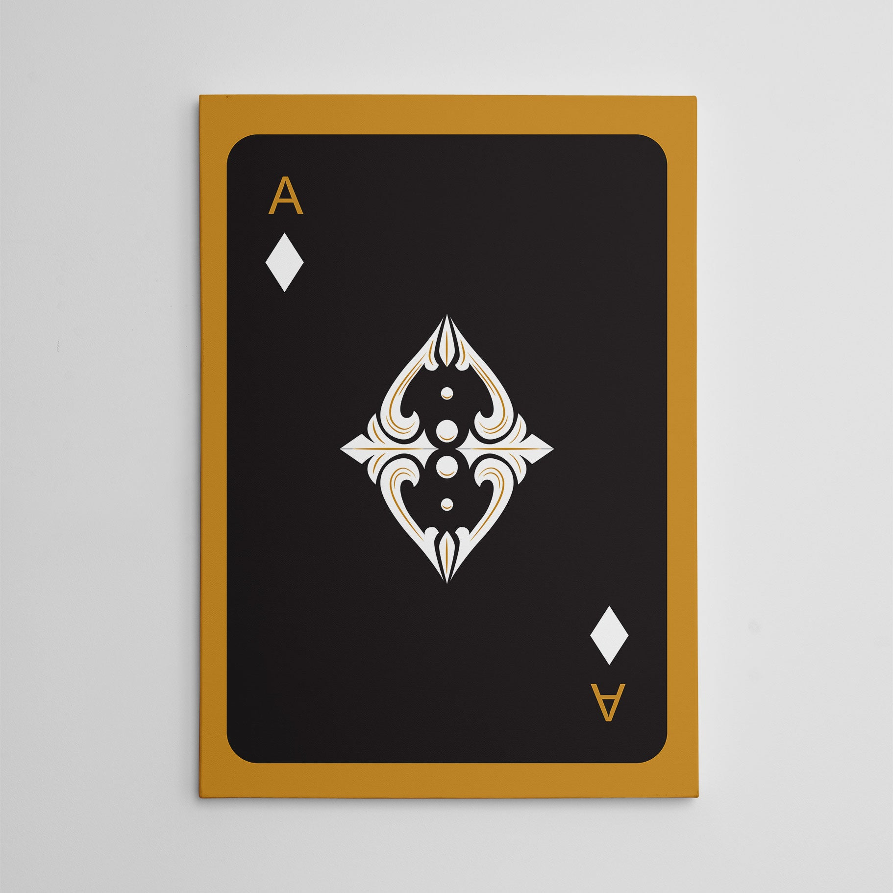 Canvas print with black ace of diamonds playing card, on gold background.